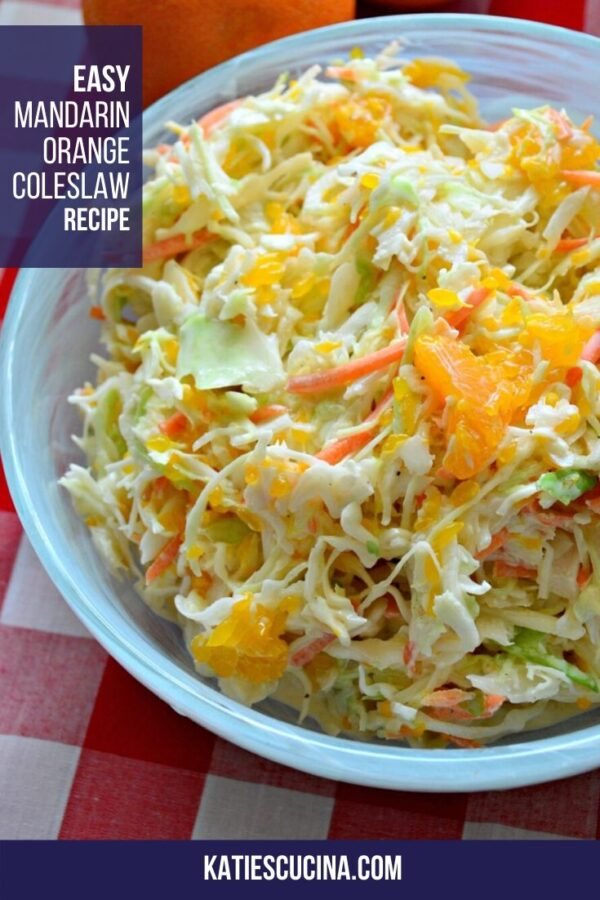 Closeup of a bowl of coleslaw in a blue bowl on a red and white checkered tablecloth.