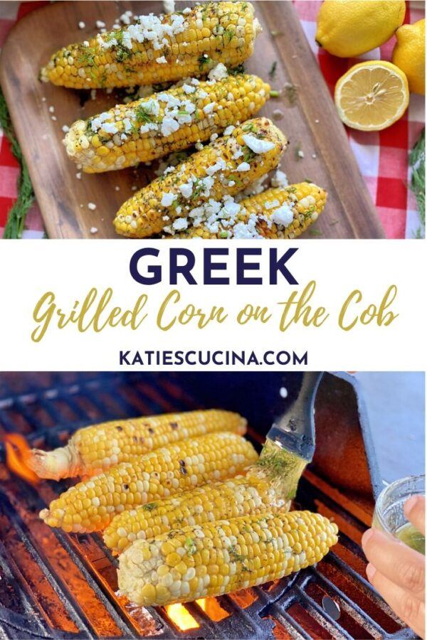 Topped corn on the cob on a try with text in the middle and grilled corn on the bottom.