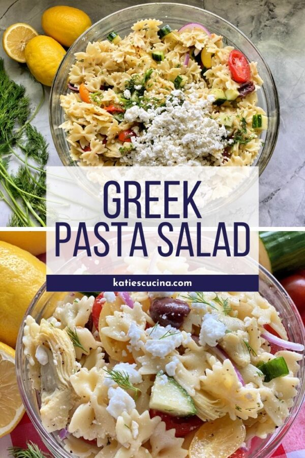 Pasta salad with feta in a glass bowl with text on image in the middle and upclose pasta salad on the bottom.