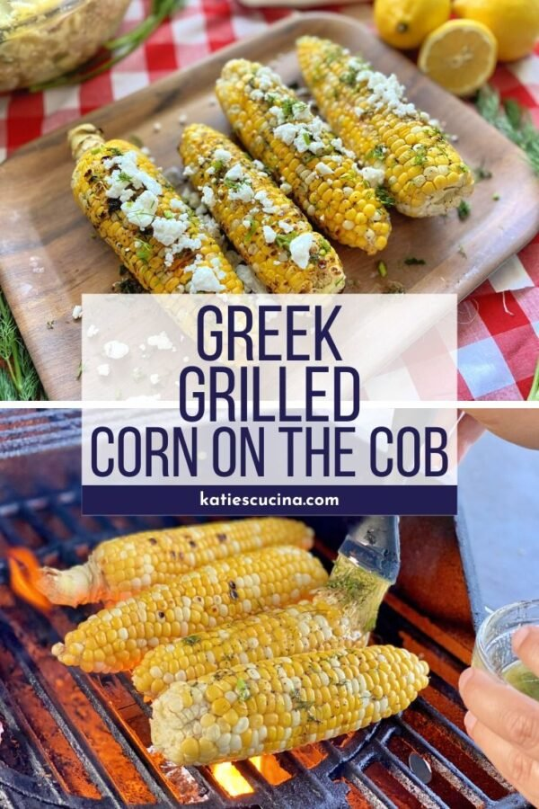 Corn on a wood platter with text in the middle for pinterest. Corn on the bottom on the grill.