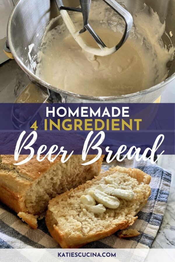 collage of mixing process and finished beer bread with text.