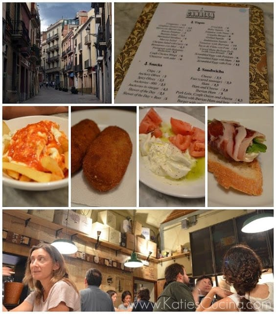 Collage with restaurant street view, its menu, select tapas, and interior lined with vintage newspaper.