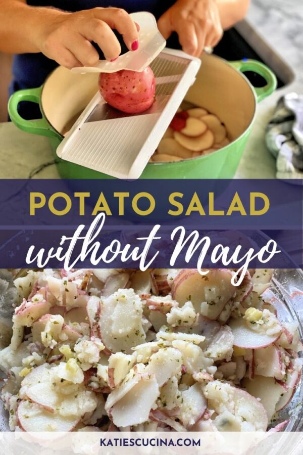 Slicing red potatoes on a mandolin divided by text and potato salad on the bottom.