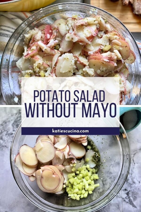 Sliced red potatoes in a glass bowl with ingredients for potato salad in another bowl.