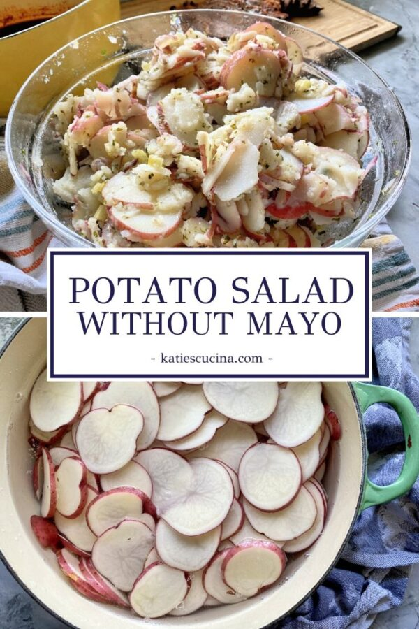 Glass bowl with sliced potatoes for salad divided by text with sliced raw potatoes in a pot.