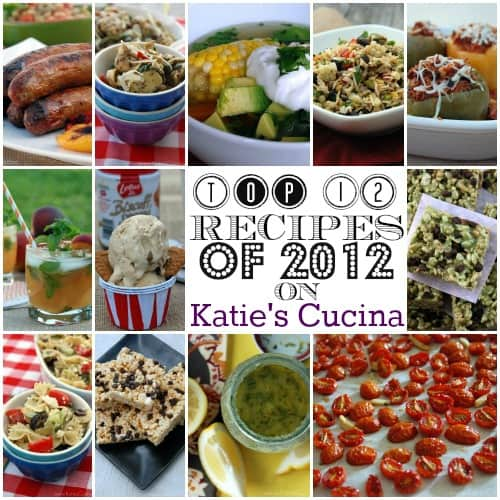 Collage showing dishes filled with the top 12 recipes of 2012 on Katie's Cucina.