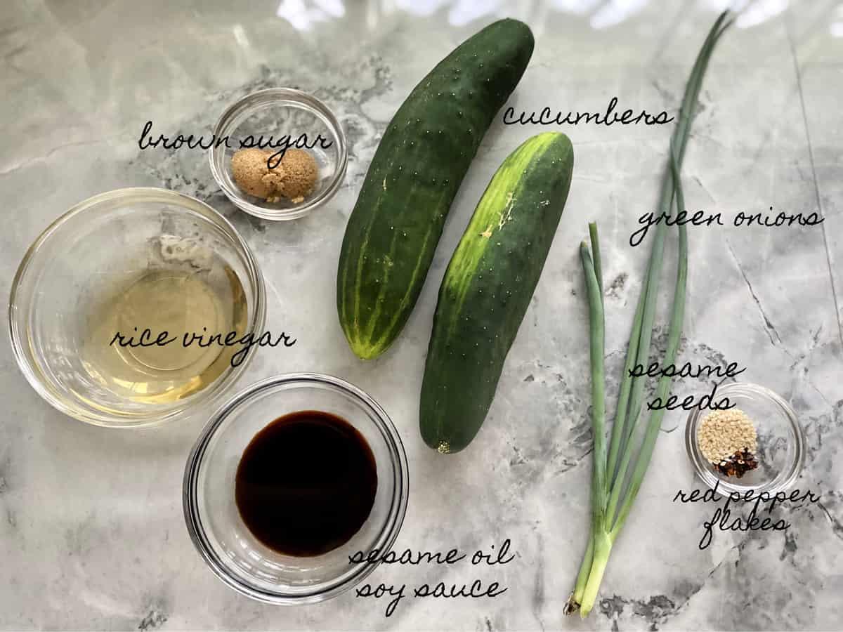 Ingredients: rice vinegar, brown sugar, sesame oil, soy sauce, cucumbers, green onions, sesame seeds.