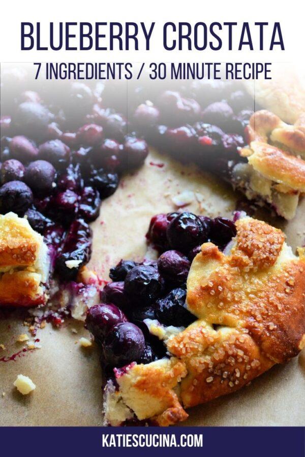 Sliced blueberry crostata on brown parchment paper with text on image.