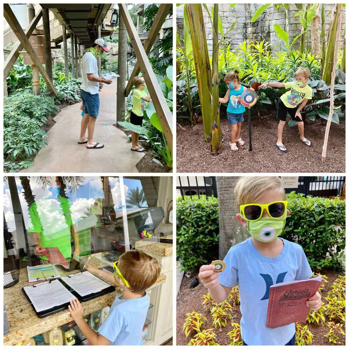 Four photos of kids and father doing a scavenger hunt around the Gaylord Palms Resort.
