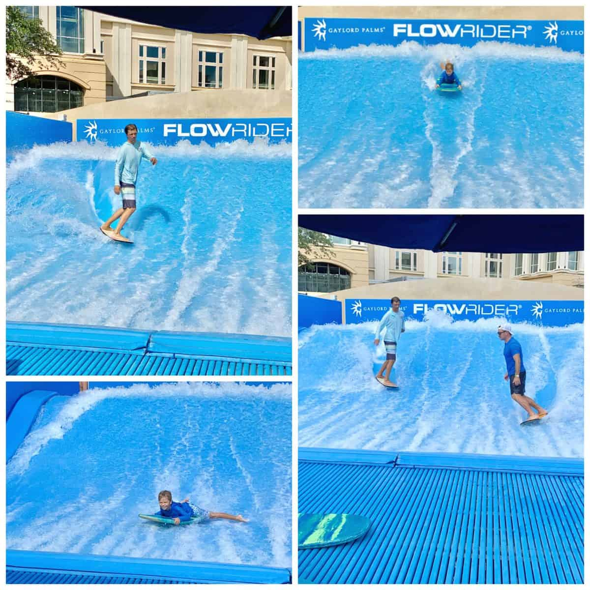Four different photos of 2 men surfing on a FlowRider and a little boy body boarding.