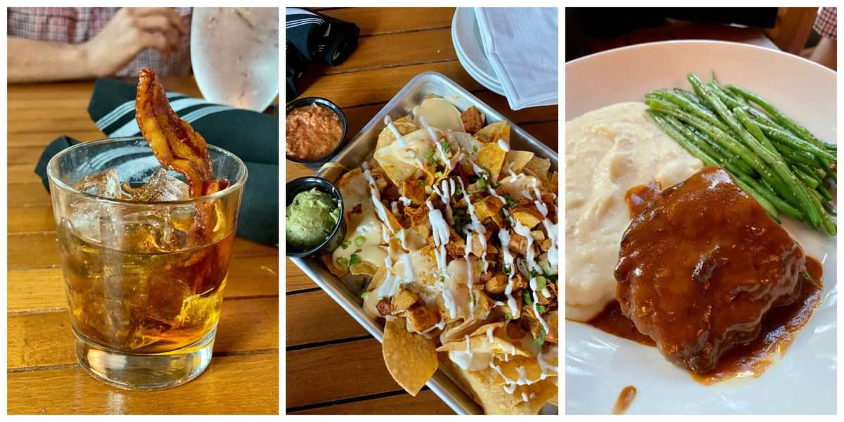 Three photo food collage; old fashion, chicken nachos, short ribs with mashed potatoes.