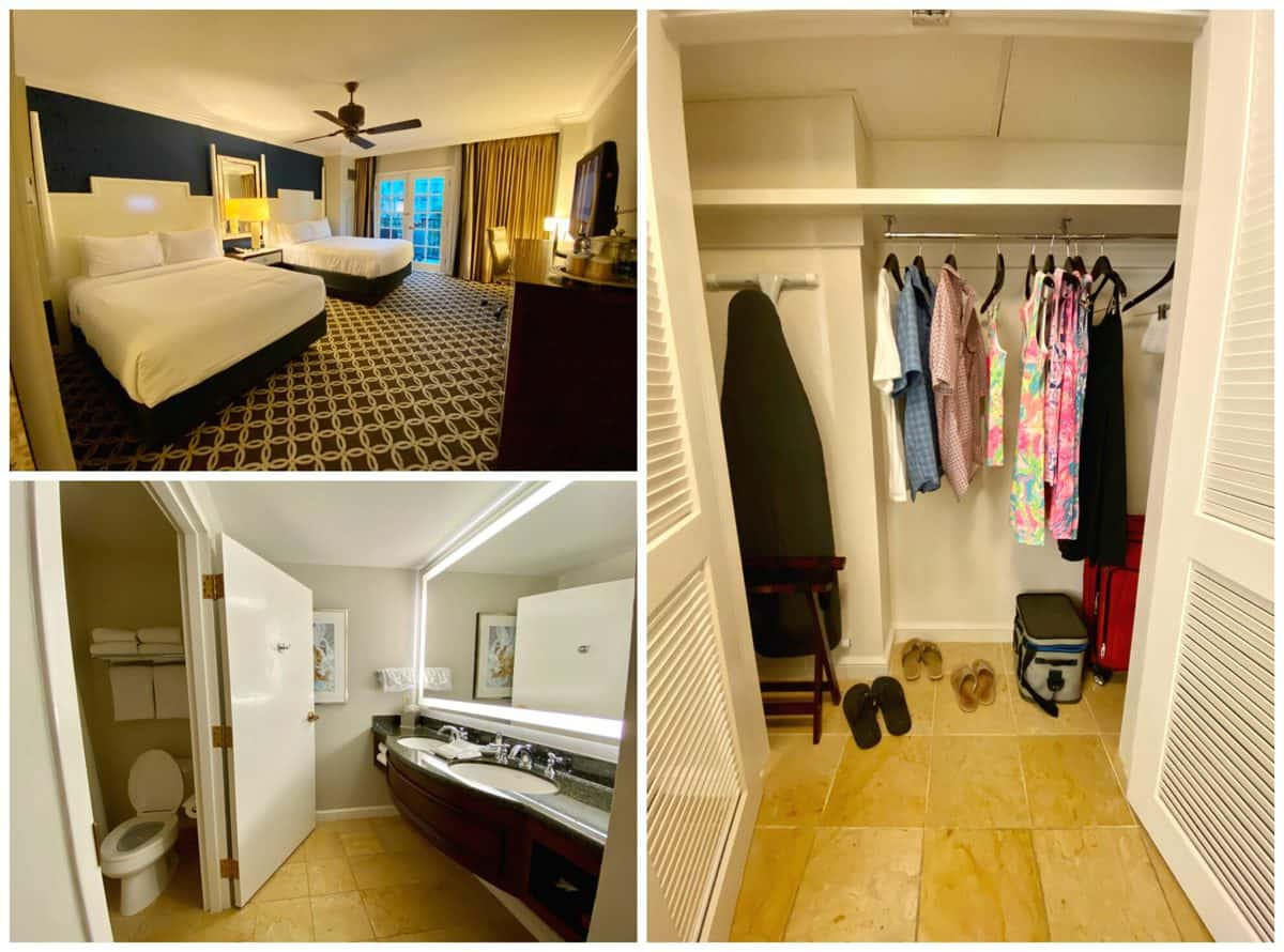 Three photo collage of hotel room; beds, bathroom, and closet with clothes hanging.