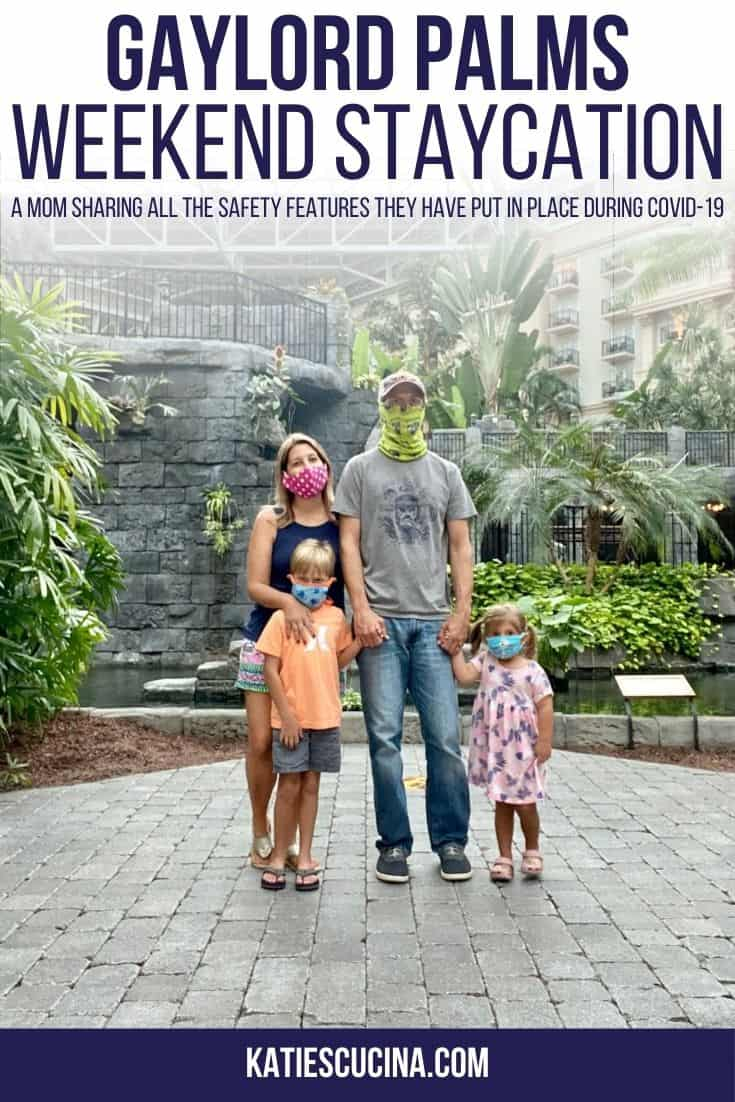 Family wearing mask in hotel atrium with text on image for Pinterest.