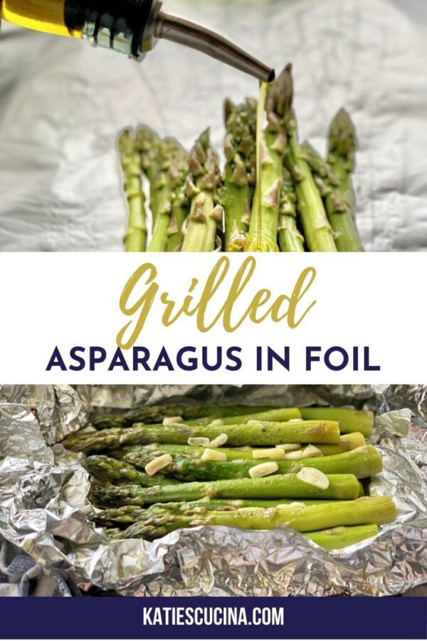 Top photo of olive oil poured on asparagus, bottom of cooked asparagus.