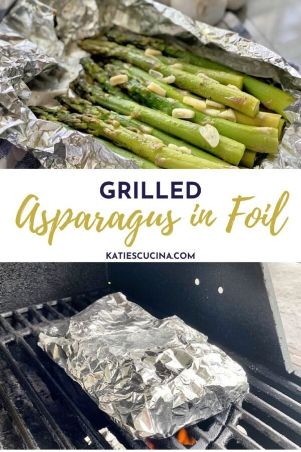 Top photo of asparagus in foil bottom of it cooking on the grill.