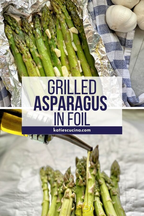 Top image of cooked asparagus in foil bottom of oil pouring on asparagus.