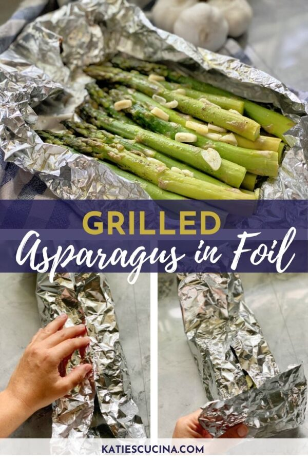 Two images showing how to fold aluminum foil and top with cooked asparagus in foil.