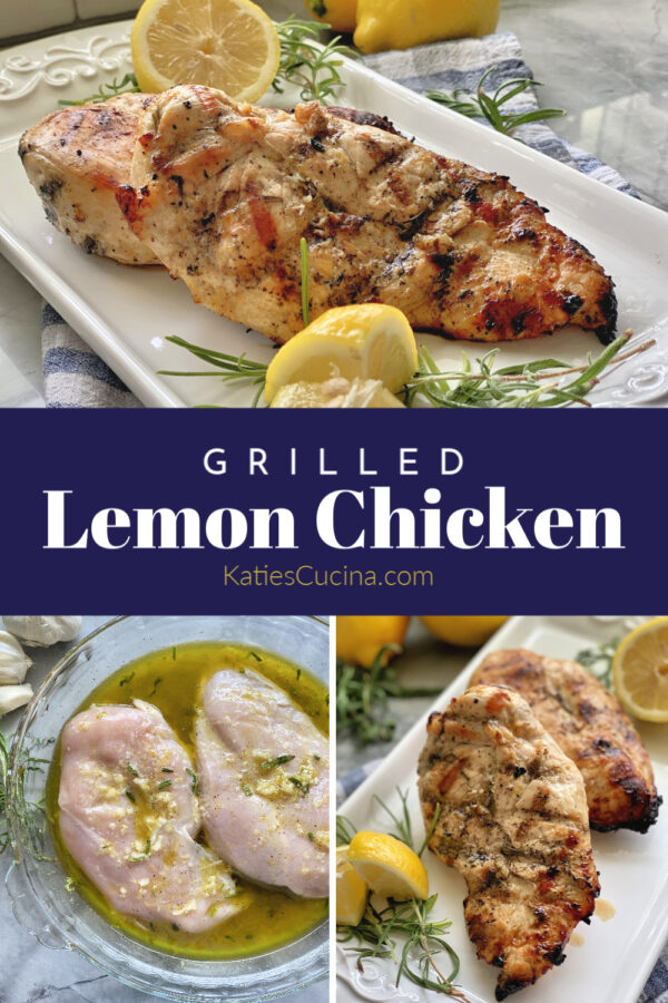 Three photo split with text of grilled chicken and a dish with raw chicken marinating.