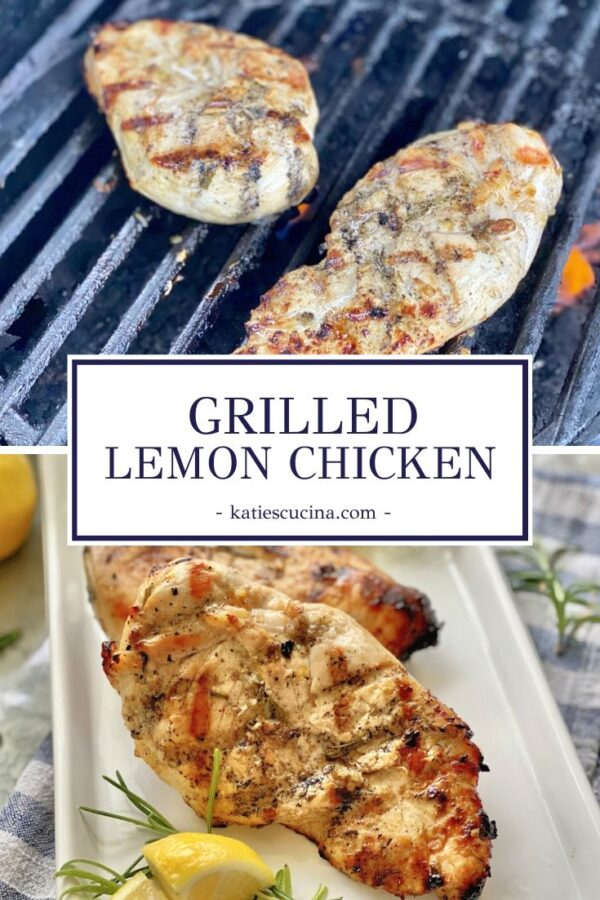 Chicken on a grill with text dividing photo. Bottom photo of grilled chicken on a plate.