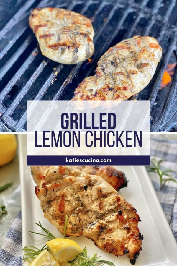 Chicken on a grill with text then grilled chicken on a white plate.