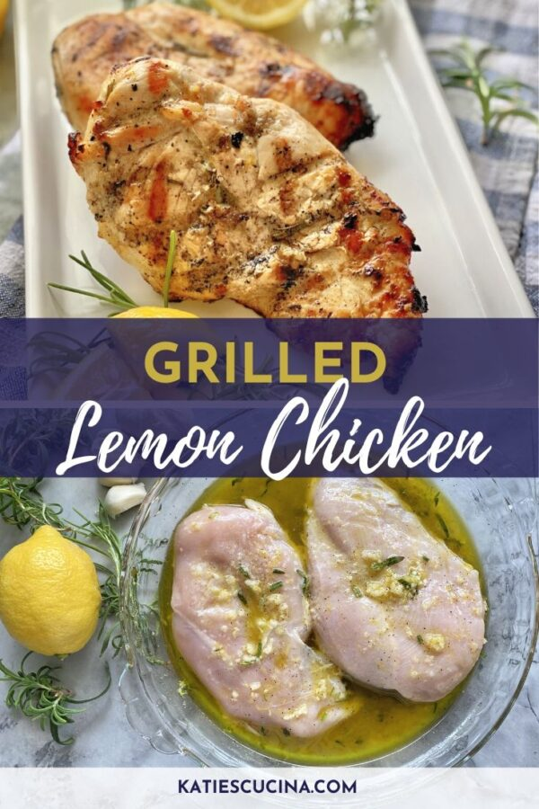 Two photos split with text. Top of grilled chicken/bottom with raw chicken.