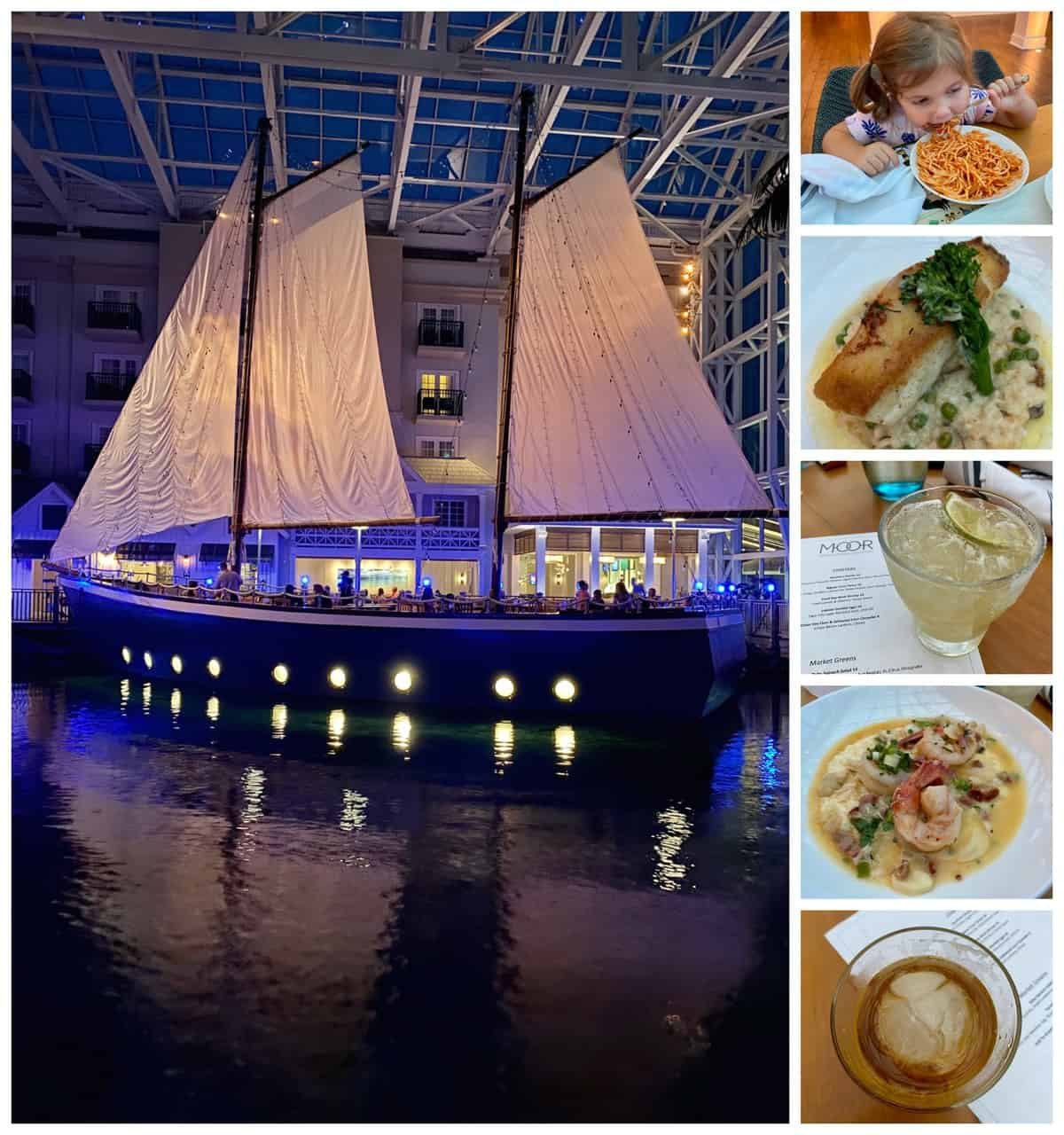 Six photo collage: picture of sailboat dining on water at night, two drinks, two entrees, and little girl eating spaghetti.