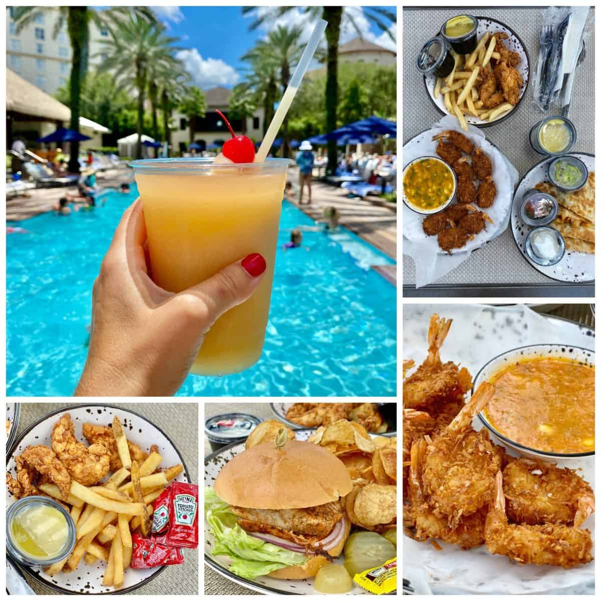Five food photo collage; tropical drink, coconut shrimp, fish sandwich, and chicken strips with fries.