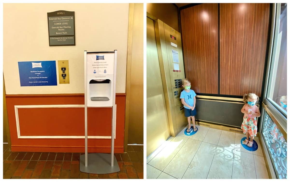 Two photos, one of hand sanitizer station and elevator signage, and the other of two kids on blue dots in elevator.