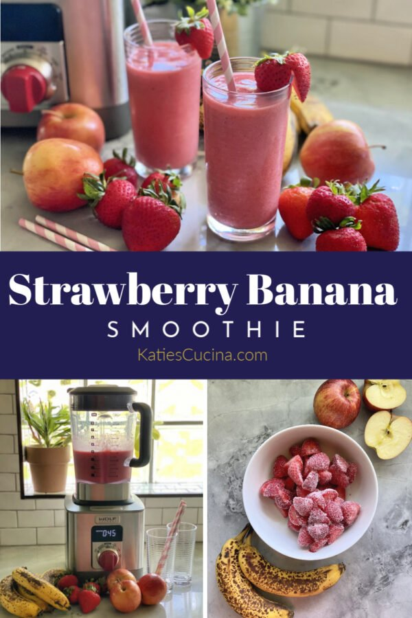 Three photos with text for pinterest; two pink smoothies in cups, fruit ingredients, and blender with smoothie.
