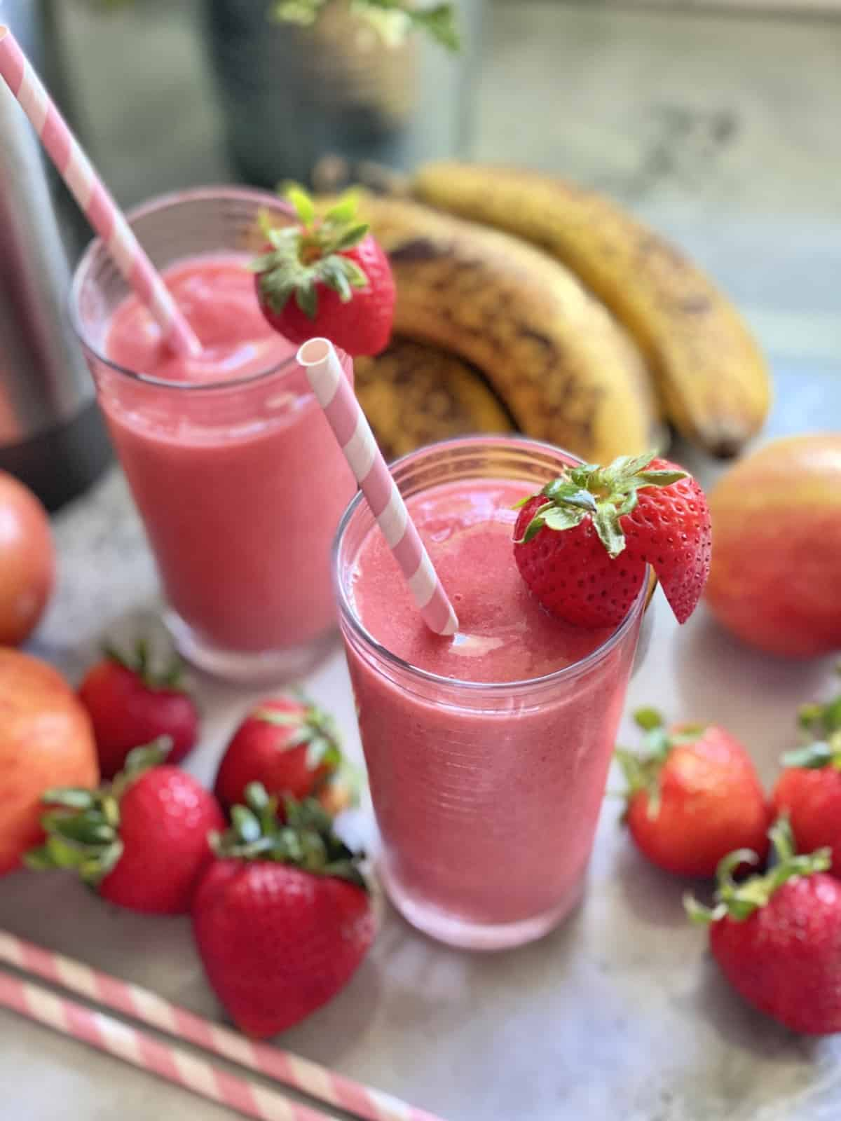 Strawberry Banana Smoothie Recipe Katie S Cucina