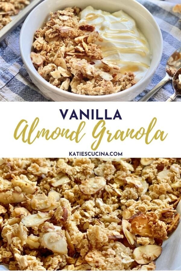 Close up of granola in a bowl with yogurt and close up of granola with text on image for Pinterest.