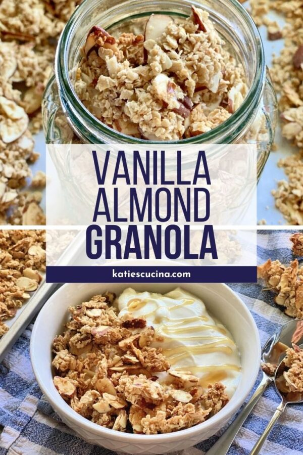 Two photos of granola in a jar and in a bowl with yogurt with text on image for Pinterest.