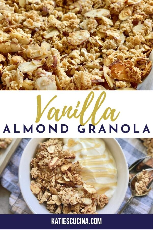 Two photos of granola close up and one with a bowl of yogurt and granola with text on image for Pinterest.