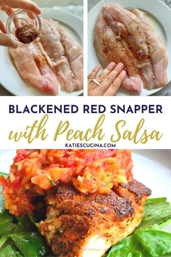Three photos of red snapper with text on image for Pinterest.