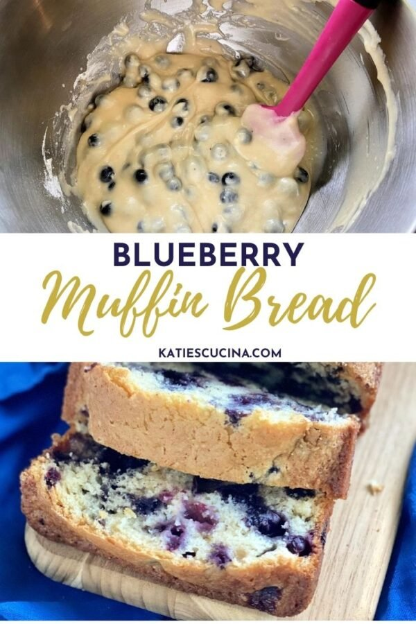 Top of a batter with blueberries, bottom photo of 2 slices of blueberry bread with text on image for Pinterest.