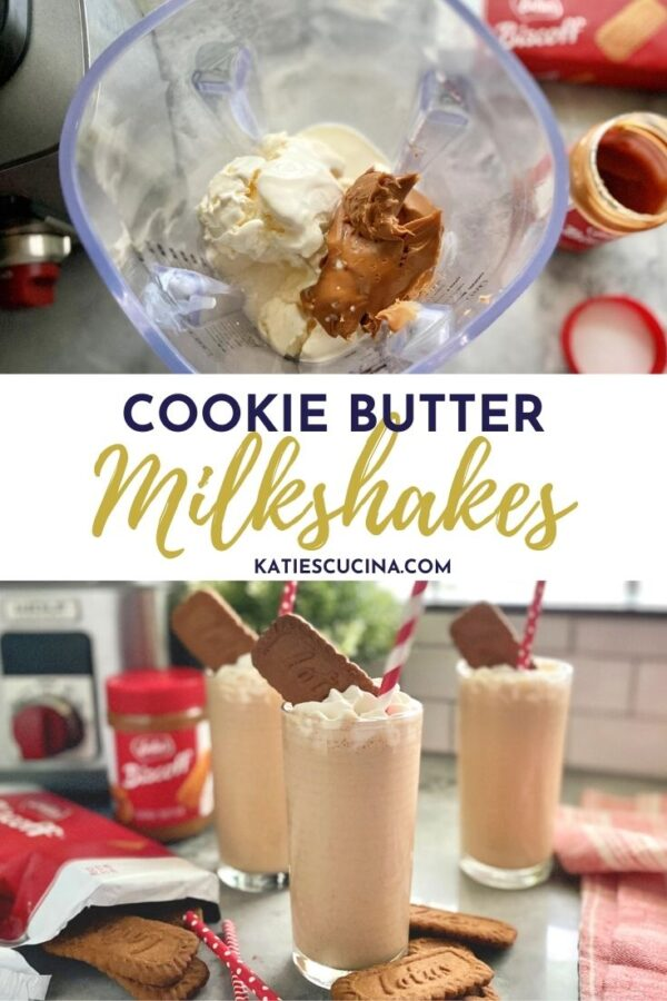 Two photos: Top of milkshake ingredients, bottom of three milkshakes with text on image for Pinterest.