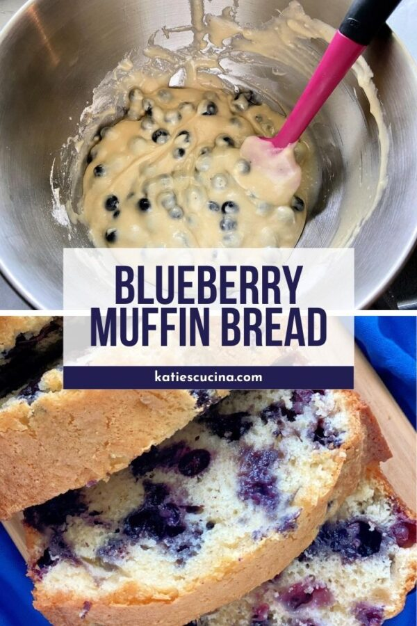 Top photo of batter in a bowl with blueberries, bottom photo of slices of blueberry bread.