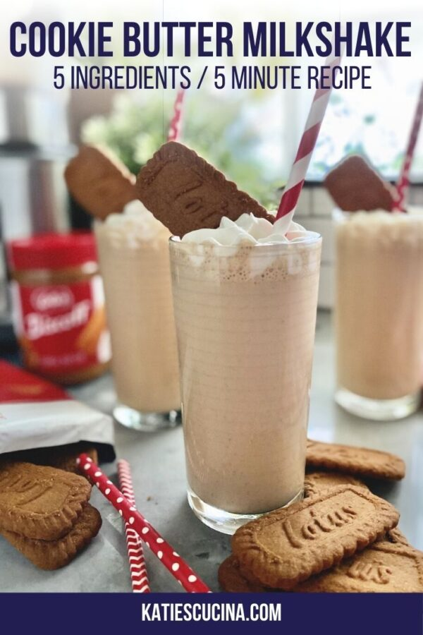 Close up of three milkshakes with cookies and whipped cream with text on image for Pinterest.
