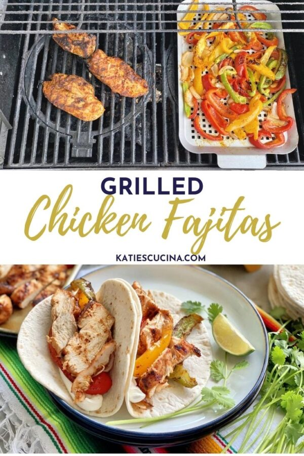 Two photos: top of chicken and bell peppers on grill, bottom of plated tacos with text on image for Pinterest.