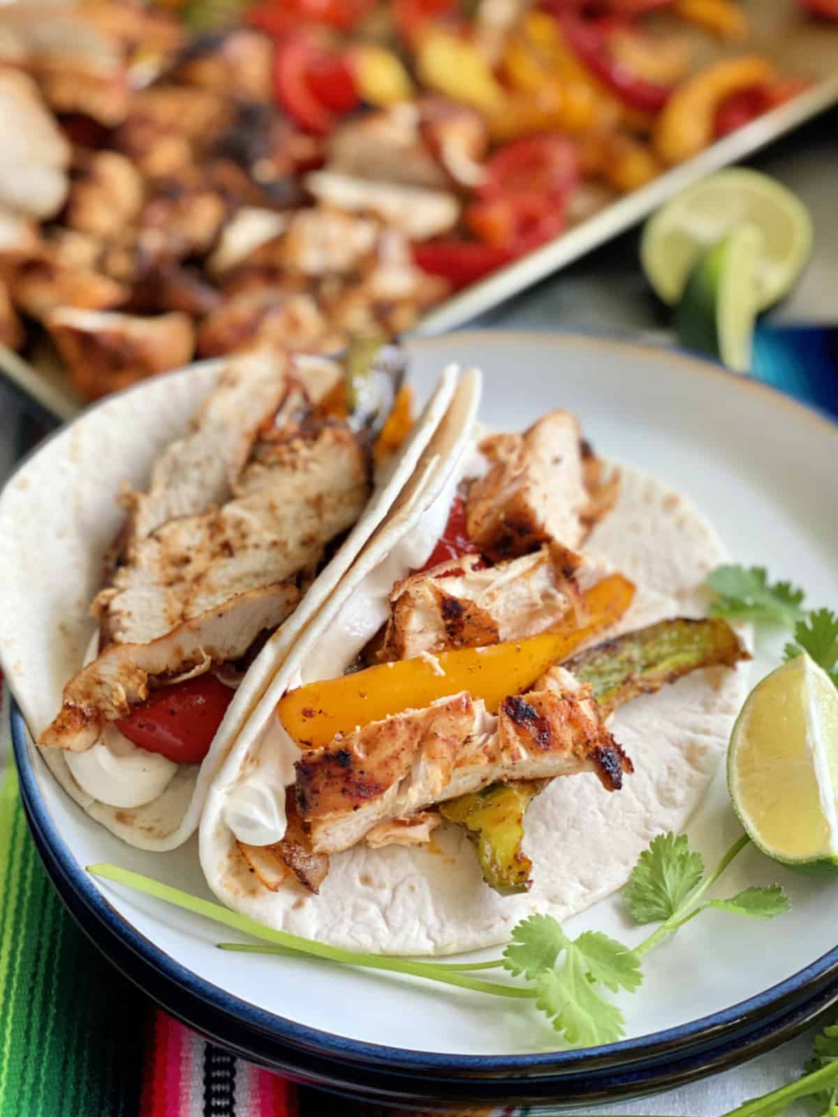 Up close view of two folded tortillas that have grilled chicken, peppers, and sour cream.