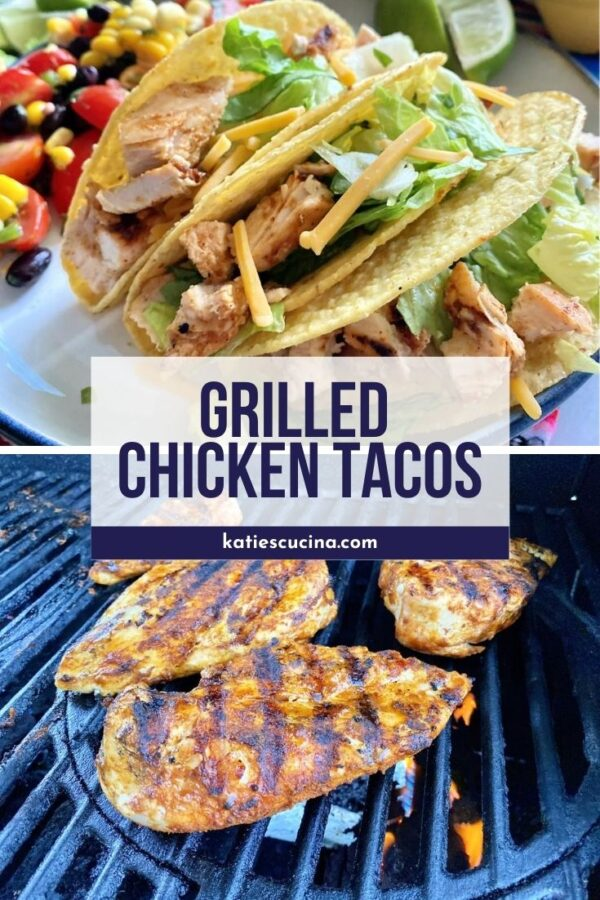 Three chopped chicken tacos with text and bottom of chicken breast on grill.