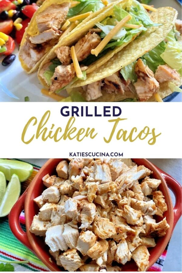 Top of three crunchy tacos with chicken, bottom of bowl of diced chicken with text on image for Pinterest.