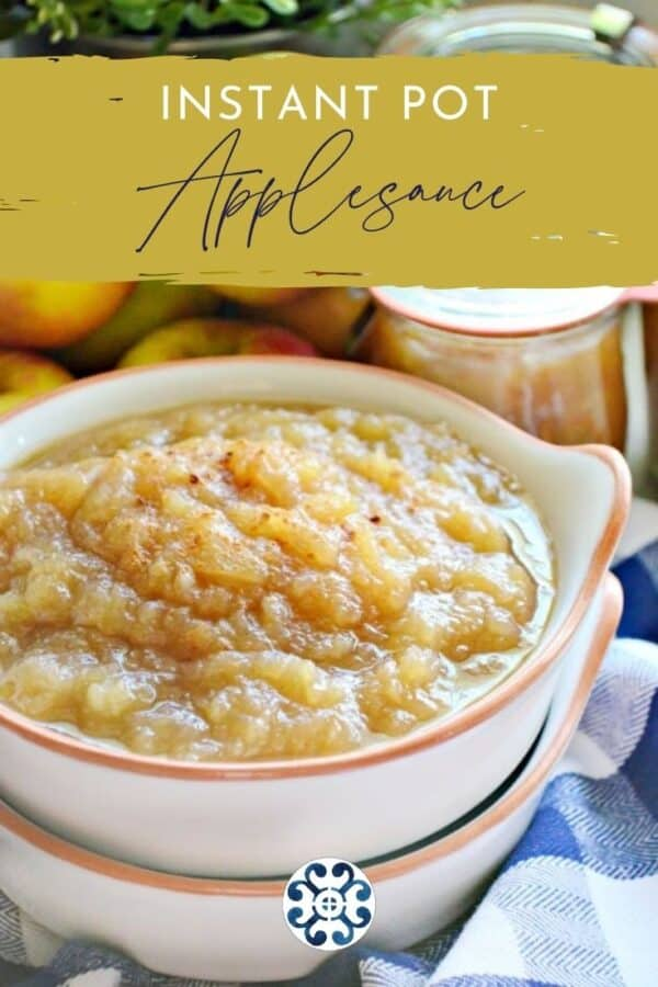 Two white dishes stacked with applesauce in it with text on image with Pinterest.