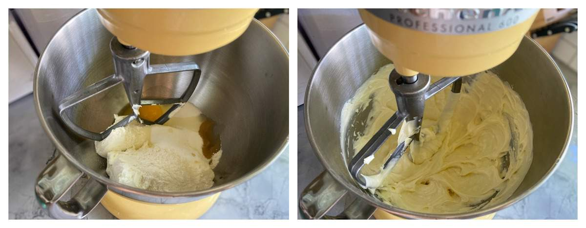 Two process photos of a KitchenAid Stand Mixer fitted with a paddle attachment creaming whipped cream.