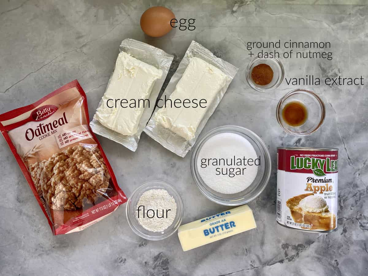 Ingredients: Oatmeal cookie mix, cream cheese, flour, sugar, butter, egg, cinnamon, apple pie filling.