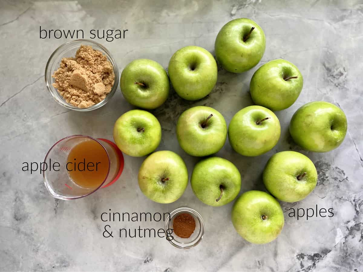 Ingredients; brown sugar, apple cider, cinnamon, nutmeg, and apples.