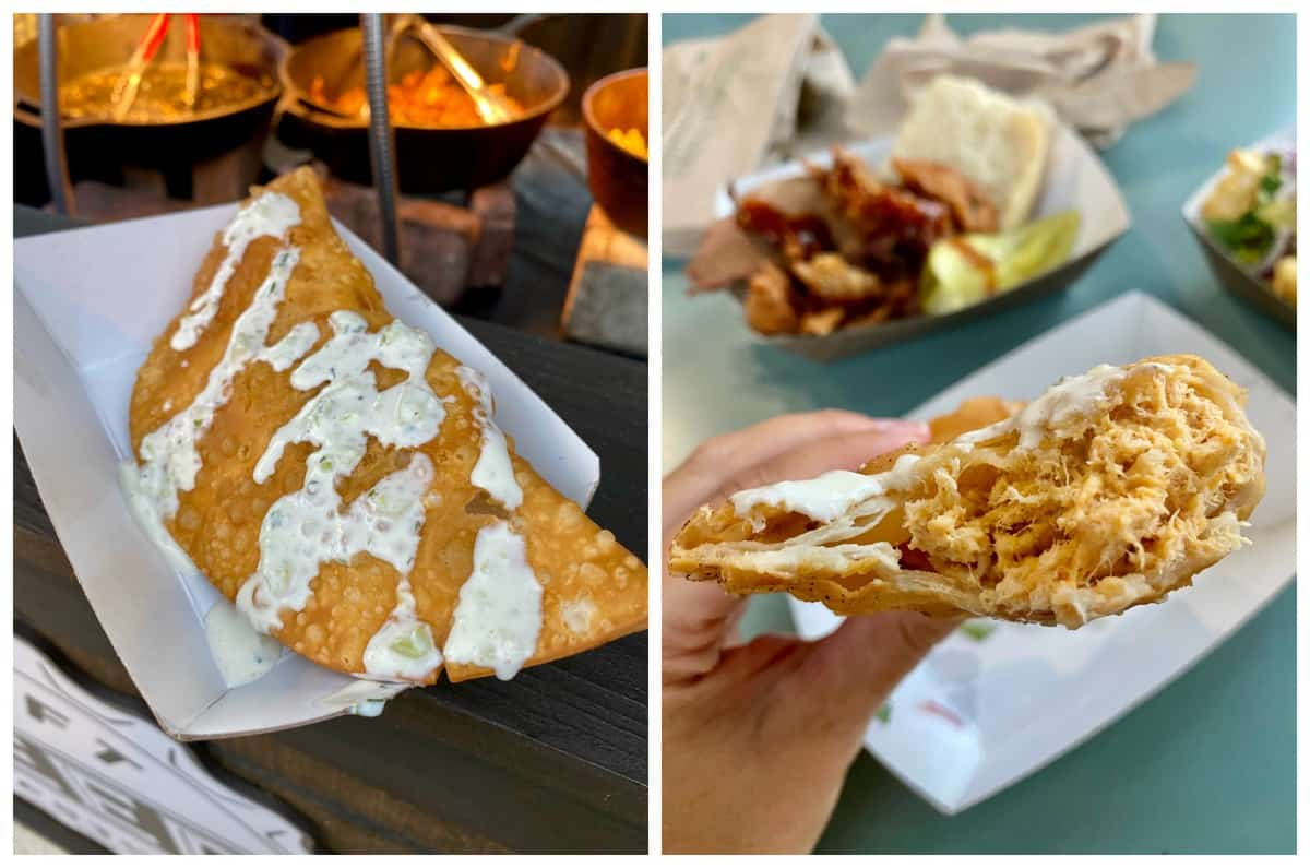 Two photos: one of a whole empanada in a paper tray, the other of a half eaten empanada.