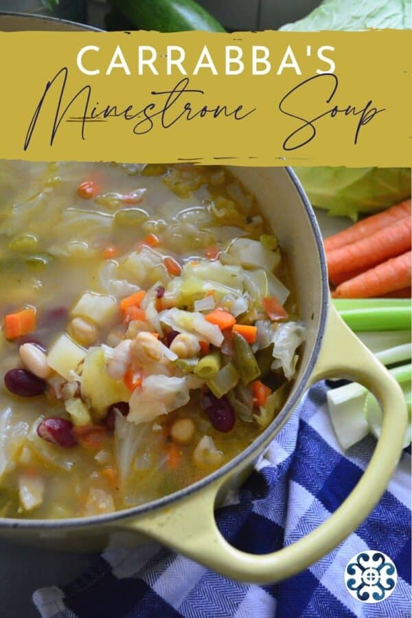 Yellow soup pot filled with minestrone with text on image for Pinterest.