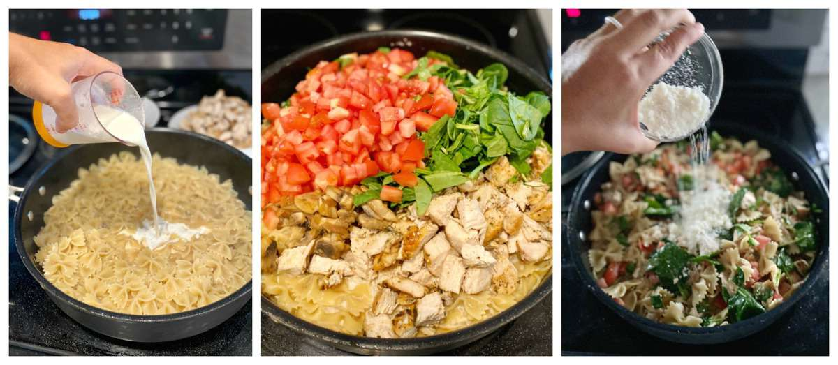 Three process photos, cream pouring in pasta, veggies in pasta skillet, cheese pouring on pasta.