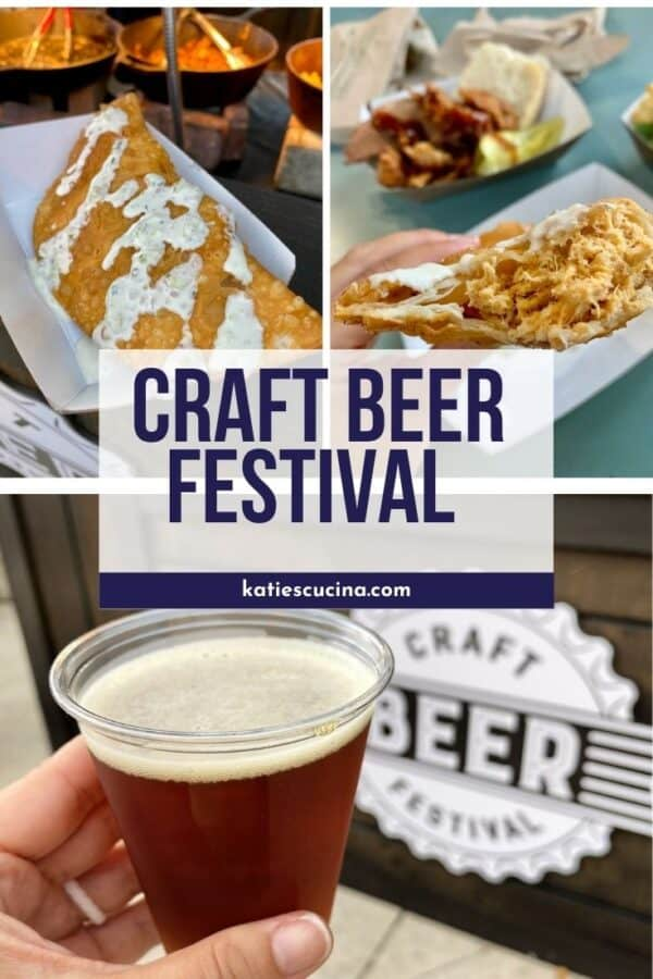 3 photos; two of empanada's and the bottom of an amber beer and text on image for Pinterest.